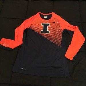 Men's, U Of Illinois Nike Dri-Fit Long-sleeve